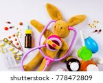 sick bunny with a stethoscope ... | Shutterstock . vector #778472809