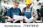 engineer teaching apprentices... | Shutterstock . vector #778478935