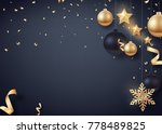 gold and black christmas balls... | Shutterstock .eps vector #778489825
