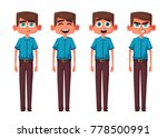set of boy emotions. cartoon...   Shutterstock . vector #778500991