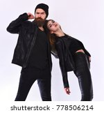 girl and bearded man in black... | Shutterstock . vector #778506214