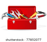 red toolbox with tools | Shutterstock .eps vector #77852077