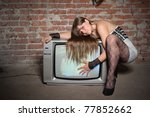 young girl on vintage tv... | Shutterstock . vector #77852662