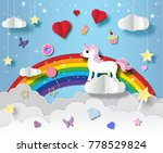unicorn in paper art style with ... | Shutterstock .eps vector #778529824
