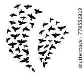 silhouette of a flock of birds. ... | Shutterstock .eps vector #778552819