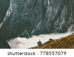 scale showing landscape man on... | Shutterstock . vector #778557079
