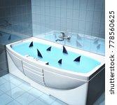 bath with sharks. 3d... | Shutterstock . vector #778560625