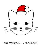 cute cat head with santa hat... | Shutterstock .eps vector #778566631