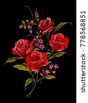 red roses embroidery design ... | Shutterstock .eps vector #778568851