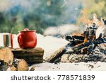 friends camping eating food... | Shutterstock . vector #778571839