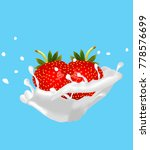 ripe strawberries with a branch ... | Shutterstock .eps vector #778576699