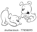 Stock vector two puppies sketch 77858095