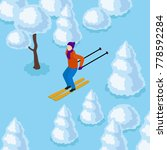 vector isometric skiing man in... | Shutterstock .eps vector #778592284
