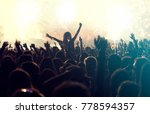 colorful fireworks and crowd... | Shutterstock . vector #778594357