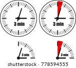 three minute clock on white... | Shutterstock .eps vector #778594555