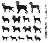 dog breeds black icons in set... | Shutterstock .eps vector #778607479