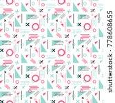 memphis seamless pattern vector ... | Shutterstock .eps vector #778608655