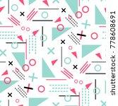 memphis seamless pattern vector ... | Shutterstock .eps vector #778608691