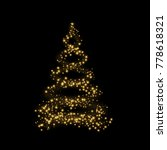 christmas tree card background. ... | Shutterstock . vector #778618321