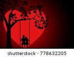 romantic silhouette of loving... | Shutterstock .eps vector #778632205