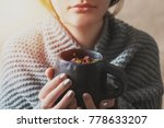a young girl inhales the aroma... | Shutterstock . vector #778633207
