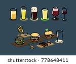 set of beer  wine and food