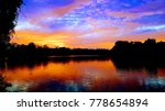 Sunset over a lake in South Bend, Indiana