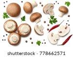 fresh champignon mushrooms with ...   Shutterstock . vector #778662571