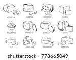 set of sketches of vegetarian... | Shutterstock .eps vector #778665049
