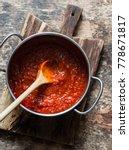 classic homemade tomato sauce... | Shutterstock . vector #778671817