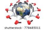 red megaphones in the form of... | Shutterstock . vector #778685011
