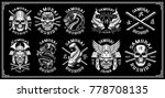 set of vintage samurai warrior... | Shutterstock .eps vector #778708135