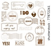 set of wedding postage stamps | Shutterstock .eps vector #77872261