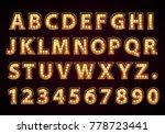 font lamp symbol  gold letter... | Shutterstock .eps vector #778723441