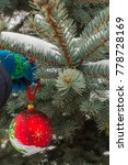 Small photo of Red globe in a wild silver fir tree