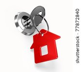 House key with label - stock photo