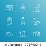 trip icon line set with ship... | Shutterstock .eps vector #778740049
