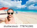 little girl making selfie while ... | Shutterstock . vector #778741381