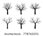 set of black trees. vector... | Shutterstock .eps vector #778763251