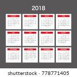 2018 calendar planner design. | Shutterstock .eps vector #778771405