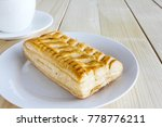corn pie and coffee cup on... | Shutterstock . vector #778776211