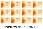 calendar 2018. 12 pages format...   Shutterstock .eps vector #778789411