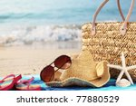 Summer Beach Bag With Straw Ha...