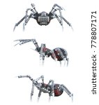Red And Black Robot Spiders...