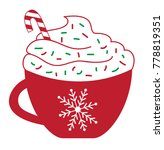merry christmas peppermint latte | Shutterstock . vector #778819351