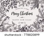 christmas black and white... | Shutterstock .eps vector #778820899