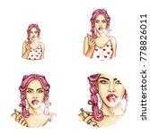 vector set of round female...   Shutterstock .eps vector #778826011