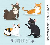 set cute cats flat icons.... | Shutterstock .eps vector #778834645