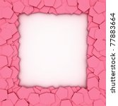 Empty frame with pink pentagons - stock photo