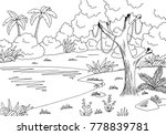jungle lake graphic black white ... | Shutterstock .eps vector #778839781